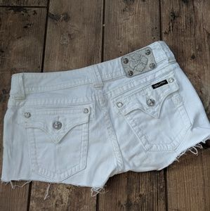 Miss Me | Cut Off White Shorts